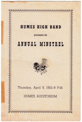 "1953 ""Annual Minstrel"" Talent Show Program at Humes High School -- Front"