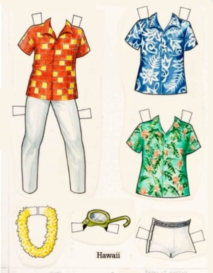 Elvis' Blue Hawaii Paper Doll