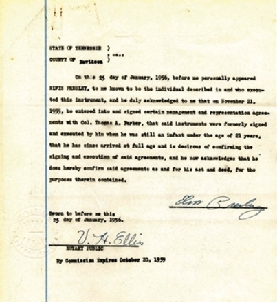 Historic January 25, 1956, Elvis Presley First Signed Document as an Adult - Certifying Earlier Agreements with Colonel Parker