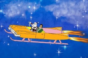 Big E and Santa in Jet Sled