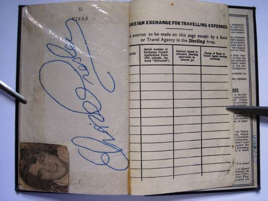 British Passport - Elvis Autograph on Page 32