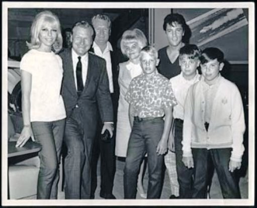 Elvis, Vernon, Dee, her kids. Nelson Rockefeller, and Nancy Sinatra at MGM 1957