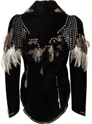 Linda Thompson Elaborate Feathered Jumpsuit - back