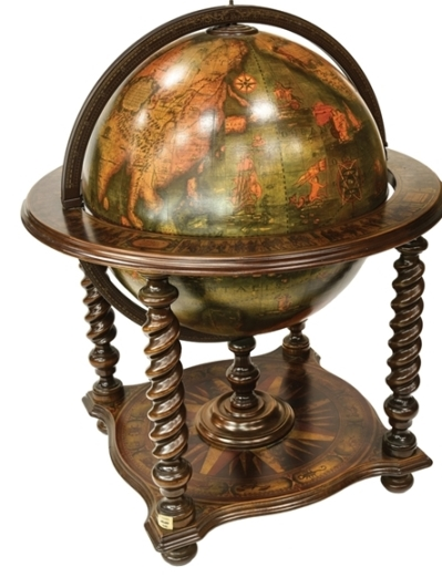 Elvis Presley's Personal Globe-Shaped Free-Standing Wooden Bar from His Beverly Hills Home - Closed