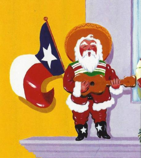 Santa and Texas Flag
