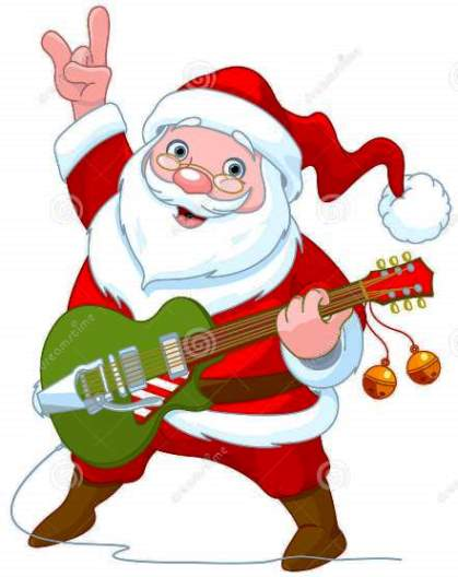Santa with Green Guitar