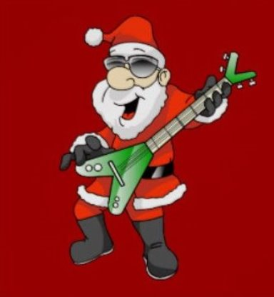 Santa with a Flying V Guitar