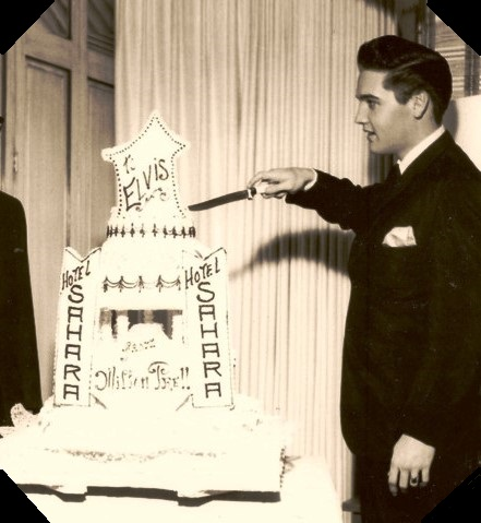 Elvis Cutting Cake at his 27th Birthday 1962