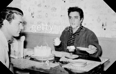 Elvis Cutting Cake with Sam Phillips Easter Weekend 1957