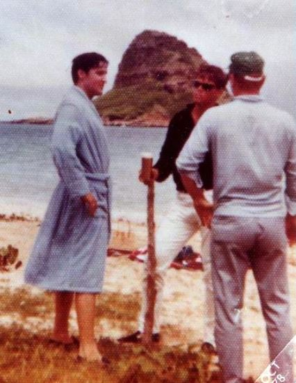 Elvis and Sonny West on the beach Blue Hawaii 1961