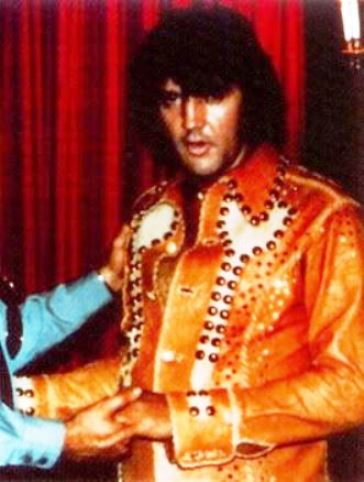 Two-toned Wine Glass Leather Two-piece - One of the four similar leather suits Elvis wore during his 1974
