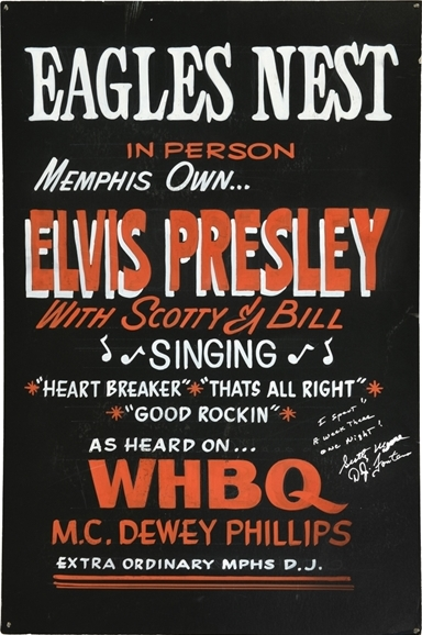 1954 Elvis Presley One of the Earliest Known Concert Performance Posters - Eagle's Nest