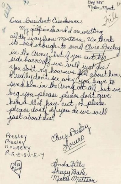 1958 letter to President Eisenhower about Elvis' haircut