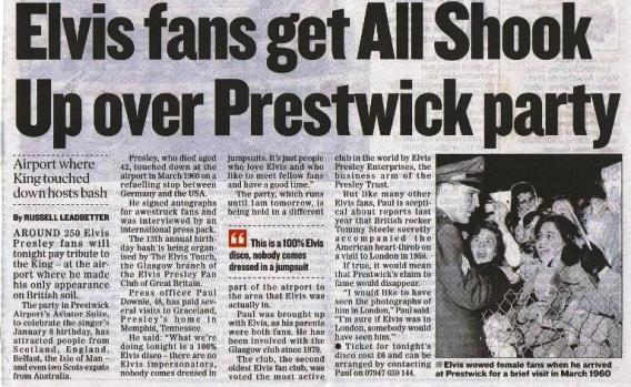 Elvis Fans get All Shook Up at Prestwick airport