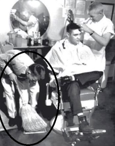 Elvis Getting Army haircut at Ft. Chaffee Barber Shop