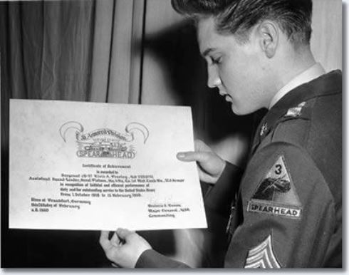 Elvis and His Army Certificate of acheivement