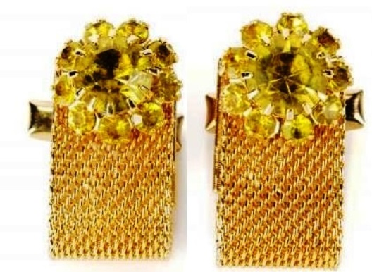 Elvis' YELLOW-GREEN STONE CUFFLINKS
