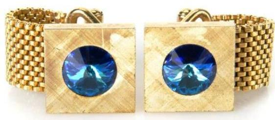 quare Cuff links with Blue Stones