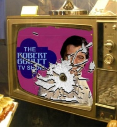 Color Drawing of Robert Goulet on Elvis' Shot-up TV