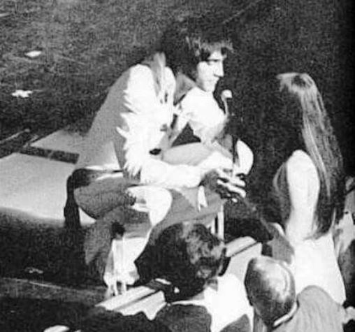 Priscilla in front of Stage with Elvis