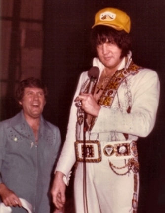 Elvis Wearing Baseball Cap at Concert-1976