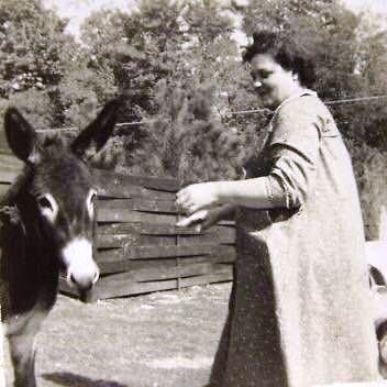 Elvis mother with a donkey at Graceland