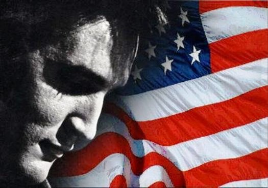 Elvis and American Flag