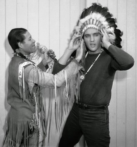 Elvis Wearing Indian Headress