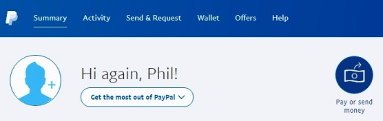 PayPal Account Page