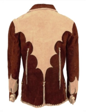 Elvis' Suzy Cream Cheese Two-Tone Brown Suede Fringed Jacket - Back