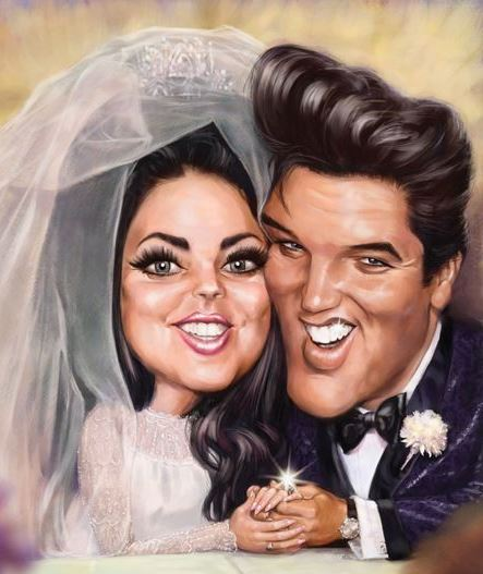 Elvis and Priscilla Caricature