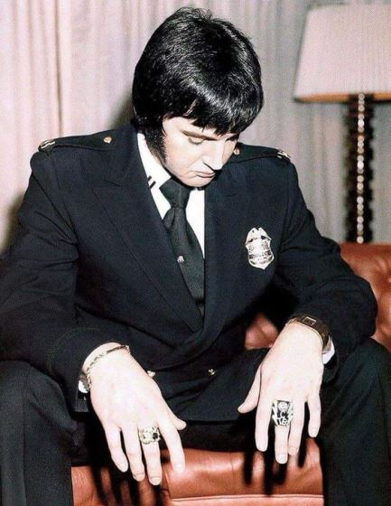 Elvis with Badge on