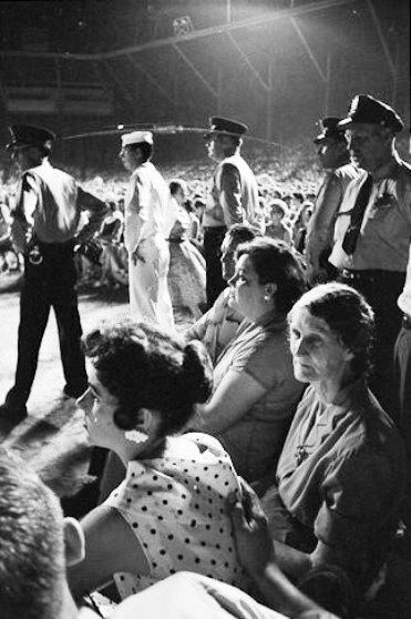 Gladys, Dodger, and Barbara Hearn at Elvis concert, Russwood Park Memphis, TN July 4, 1956