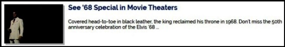 Elvis 68 Special in Movie Theaters