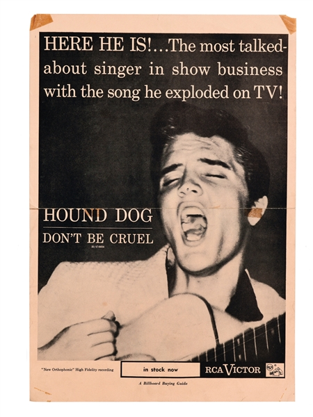 "Elvis Presley - 1956 Advertising Poster for RCA Singles ""Hound Dog"" and ""Don't Be Cruel"""