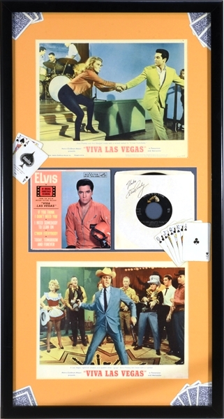 Elvis Presley Signed 1964 Viva Las Vegas Soundtrack 45 Record Sleeve in Framed Display with Two Lobby Cards