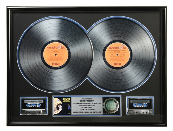 RIAA Double Platinum Record Award for Elvis Presley's 1973 LP Aloha From Hawaii - Awarded in 1988