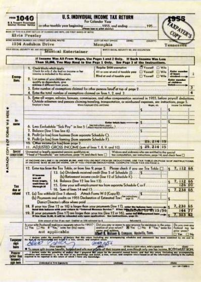 Elvis' 1955 tax return