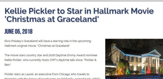 Graceland.com.news Article on Hallmark Movie