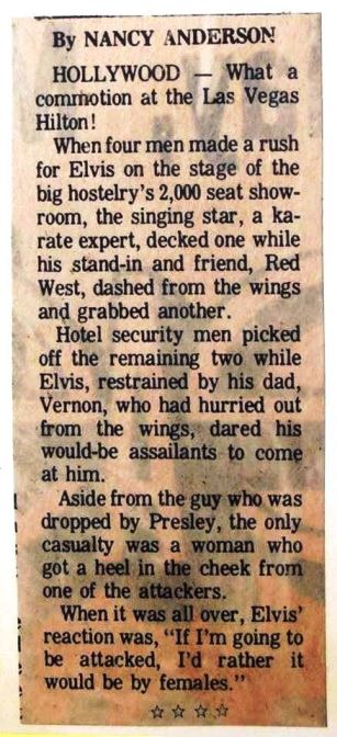 Newspaper Article about Elvis Being Attacked on Stage