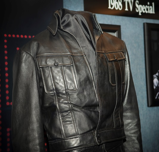 Close Up of Elvis' Black Leather Suit