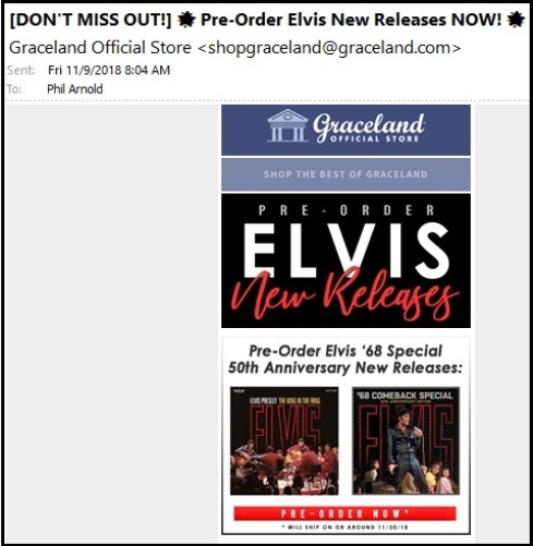 Pre-Order Elvis New releases 11-9