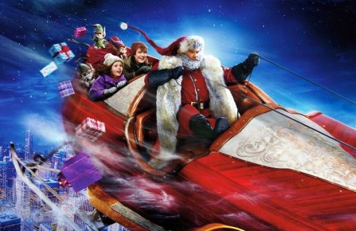 Santa with Kids on Christmas Chronicles Sleigh