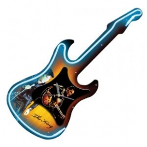 Elvis Neon Guitar Wall Clock