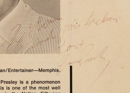 Blow up of Elvis' Autograph on America's Ten Outstanding Young Men Program