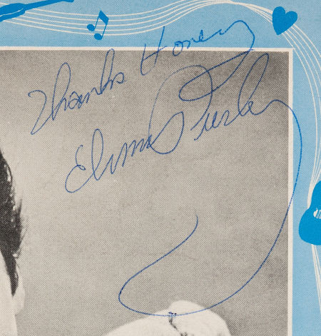Blow up of Elvis' Autograph on Magazine Page
