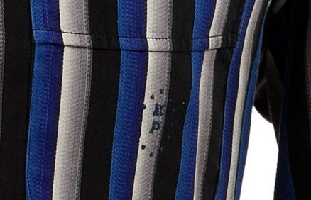 Close up of EP on Striped Shirt