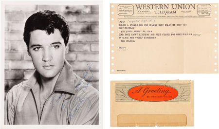 Elvis Autograph on Black and White Photograph