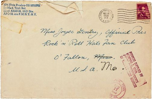Envelope for Christmas Card with Elvis' Autograph