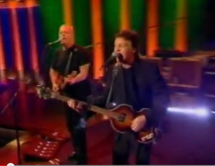 Paul McCartney and David Gilmour Singing All Shook Up